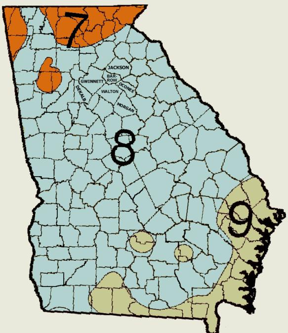 USDA Georgia Hardiness Map